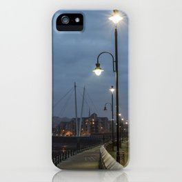 Winter evening St. George's Quay, Lancaster, Lancashire iPhone Case