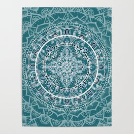 Detailed Teal and Blue Mandala Pattern Poster
