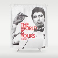 scarface Shower Curtains featuring SCARFACE by I Love Decor