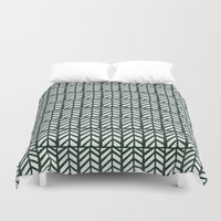 green pattern Duvet Covers featuring Green Pattern by Caite Schultz