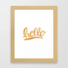 Hello Hand lettering - white and gold Framed Art Print