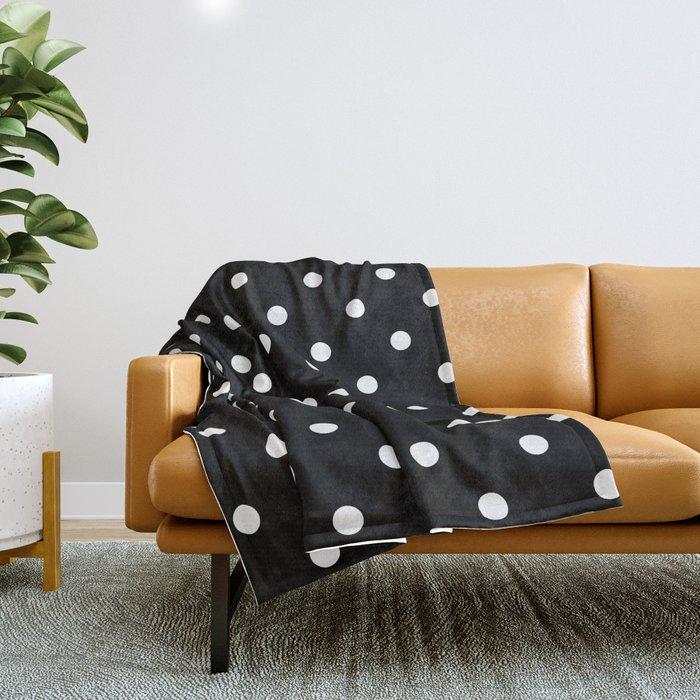 Black & White Polka Dots Throw Blanket