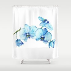 Blue Orchids - Watercolor Shower Curtain