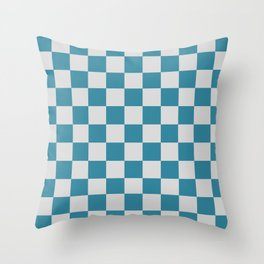 Teal and Grey Check Throw Pillow
