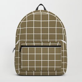 Gold Fusion - brown color - White Lines Grid Pattern Backpack