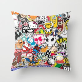 JDM Sticker Bomb Throw Pillow