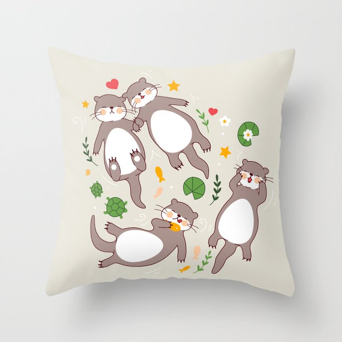 Significant otters Throw Pillow