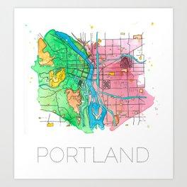 Portland Oregon Watercolor Map Art Print