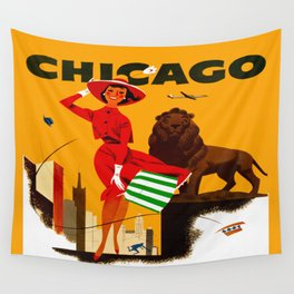 Vintage Chicago Illinois Travel Wall Tapestry