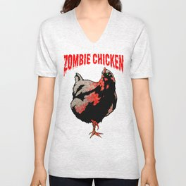 All Fear The Zombie Chicken! Unisex V-Neck