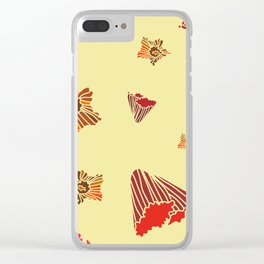 Snazzy Fall Flowers on Creme Clear iPhone Case
