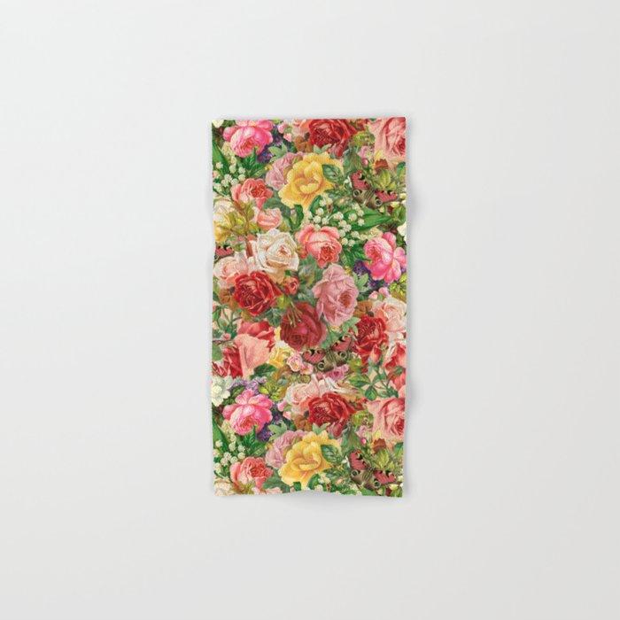 Vintage Retro flower pattern old fashioned Hand & Bath Towel