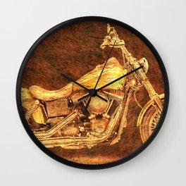 Harley Dyna Street Bob 2017 Golden art on brown stone Wall Clock