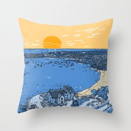 Cascais Bay-Portugal-Beach-Sunset-Landscape Throw Pillow