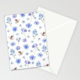 Elegant lavender brown watercolor honey bee floral Stationery Cards