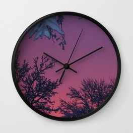 Crimson Winter Sky Wall Clock