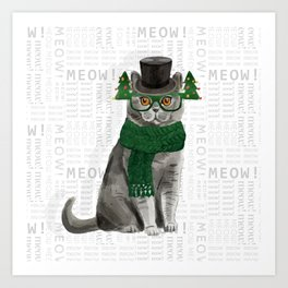 British Shorthair Christmas Cat Art Print