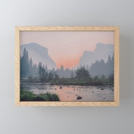 Yosemite Valley Sunrise Pretty Pink Framed Mini Art Print