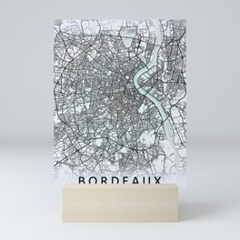 Bordeaux, France , White, City, Map Mini Art Print
