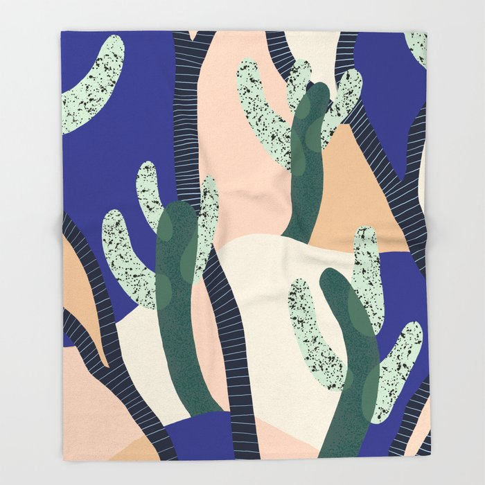 Cactus Blue Throw Blanket