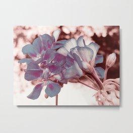 Muted Blue In Bloom Flowers Pop of Color Metal Print