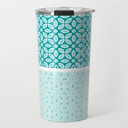 Aquatic Blue Geometric Pattern Collection Travel Mug