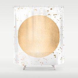 Sun Paint Spatter in Orange Sherbet Shimmer Shower Curtain