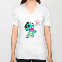 zombie V-neck T-shirts featuring zombie by Melissa Ballesteros Parada
