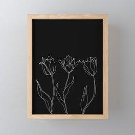 Floral line drawing - Three Tulips Black Framed Mini Art Print