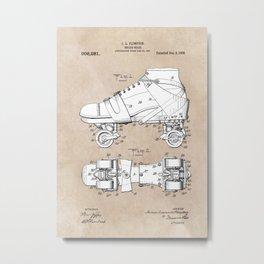 patent art Plimpton Roller Skate 1907 Metal Print