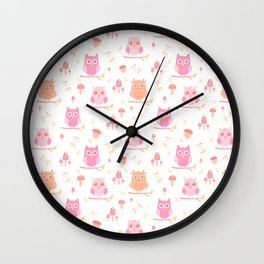 Cute funny pastel pink coral orange owl floral Wall Clock