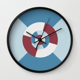 Simple geometric discs pattern blue and azure Wall Clock