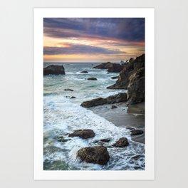 Thunder Rock Cove Sunset Coastline Art Print
