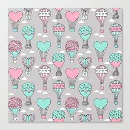 hot air balloon love valentines day gifts heart shape girls nursery grey Canvas Print
