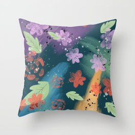 80's Floral Throw Pillow