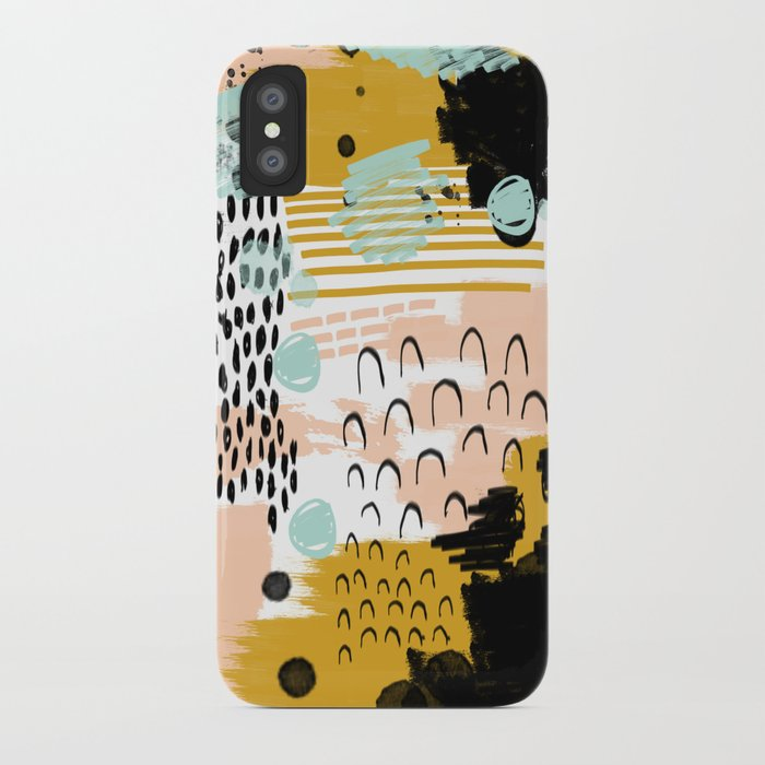 Ames - Abstract painting in free style with modern colors navy gold blush white mint iPhone Case