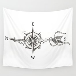 Compass with Arrow (Tattoo stule) Wall Tapestry