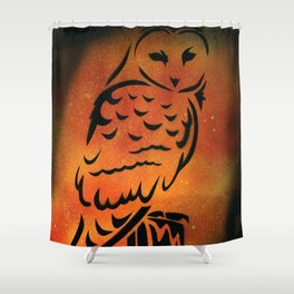 Orange Owl Shower Curtain
