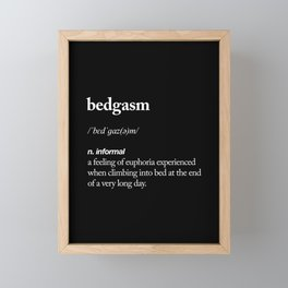 Bedgasm funny meme dictionary definition modern black and white typography home room wall decor Framed Mini Art Print