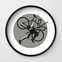 Cyclocross Athlete Carrying Bicycle Circle Retro Wall Clock