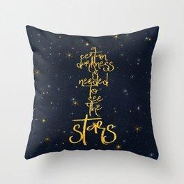 Darkness-Stars - sparkling night gold glitter effect typography Throw Pillow