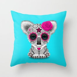 Pink and Blue Day of the Dead Sugar Skull Baby Koala Bear Throw Pillow