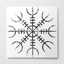 Helm of Awe [Black | Distressed] Metal Print