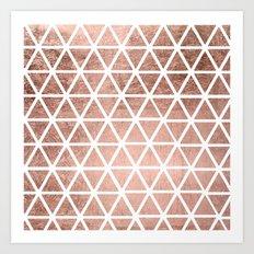 Geometric faux rose gold foil triangles pattern Art Print