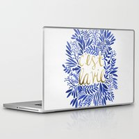 waldo Laptop & iPad Skins featuring That's Life – Gold & Blue by Cat Coquillette