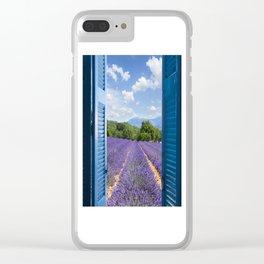 wooden shutters, lavender field Clear iPhone Case