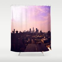 cleveland Shower Curtains featuring Cleveland Skyline by Toni Tylicki