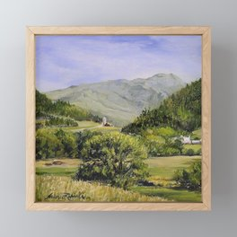 Pastures and Mount Mansfield Oil Landscape Vermont Painting Framed Mini Art Print