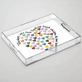 Hearts Heart Teacher Acrylic Tray