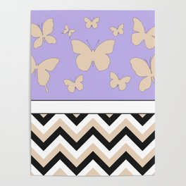 Butterfly Chevrons Pattern Design Poster